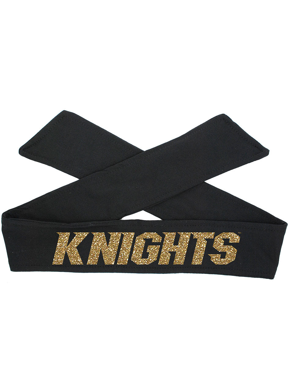 UCF Tie Headband Knights - Black Tie/Gold Sparkle