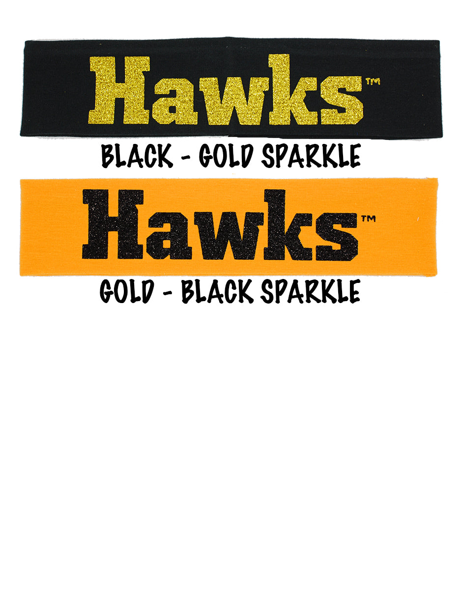"Iowa ""Hawks"" Cotton Headbands - Choose Your Style"