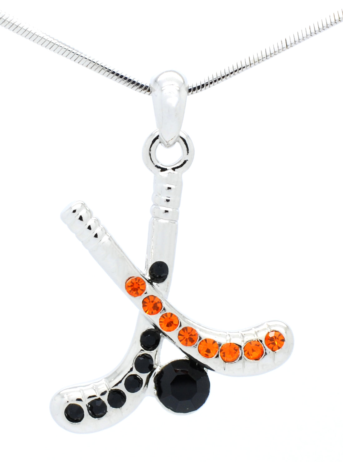 Hockey Stick Necklace - Orange/Black