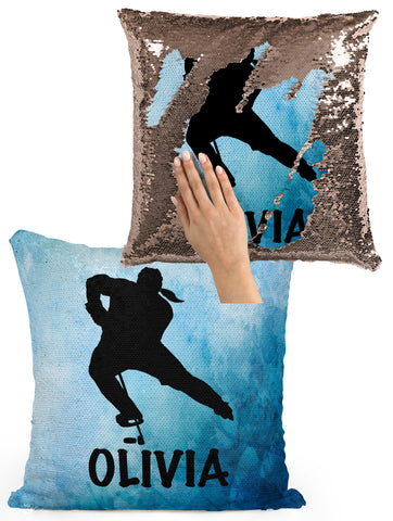 Rainbow Watercolors Personalized Mermaid Sequin Flip Pillow Skating