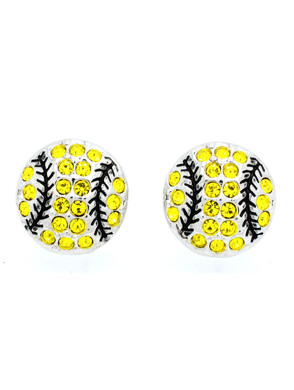 Baseball Softball Earrings POST or DANGLE - Yellow