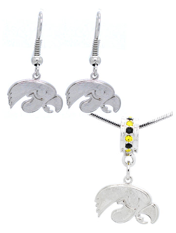 Deluxe Necklace Pendant & Earrings Set - Iowa