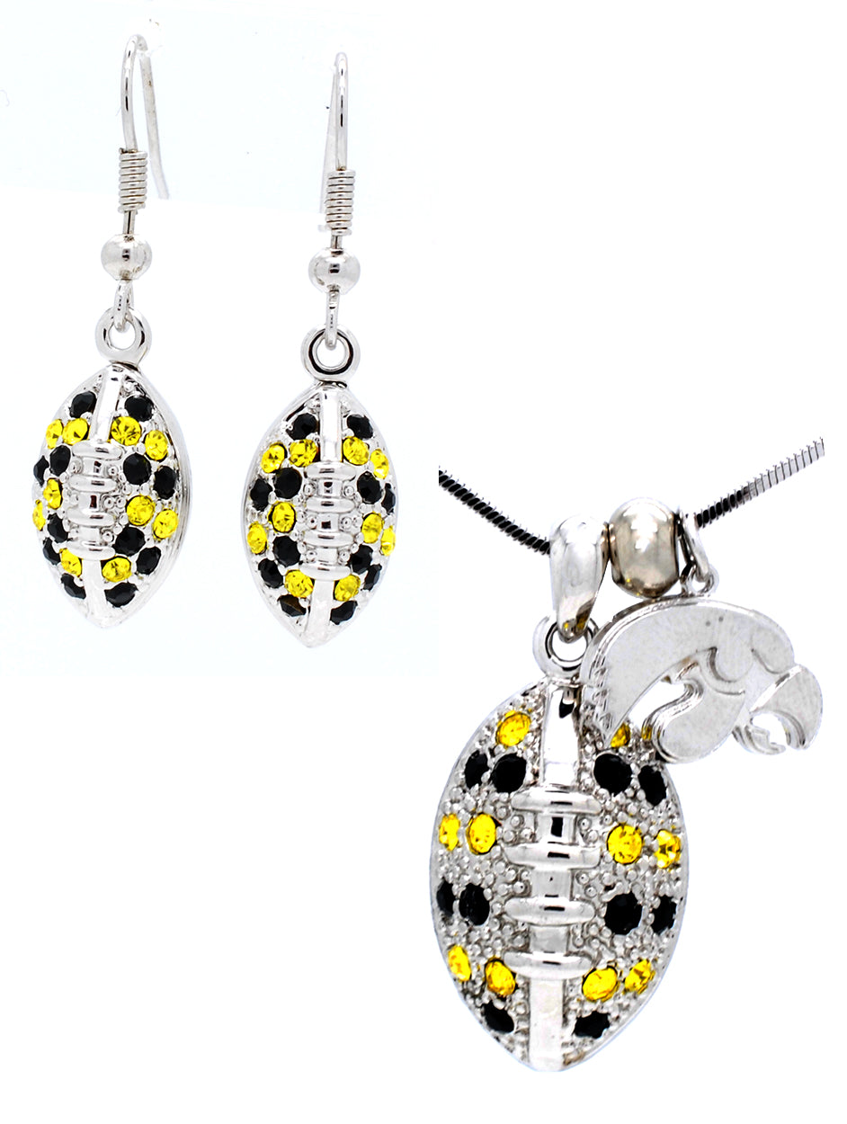Football Necklace & Earring Set Large - Iowa