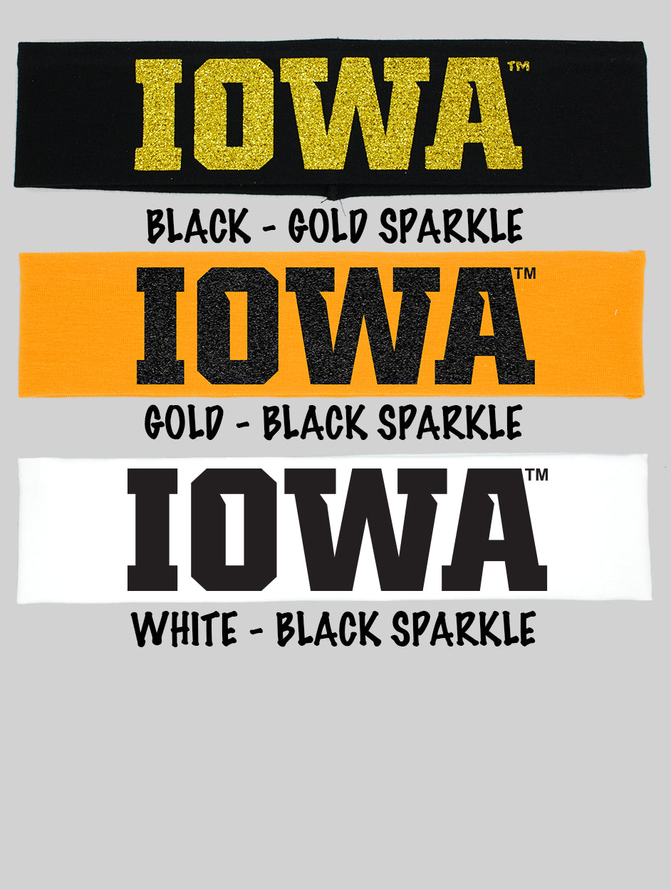 "Iowa ""IOWA"" Cotton Headbands - Choose Your Style"