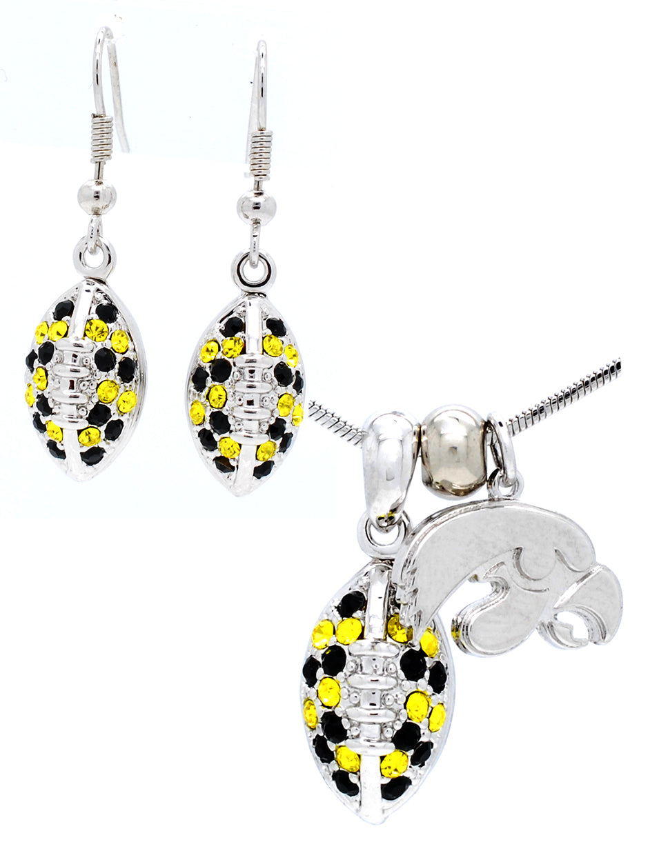 Football Necklace & Earring Set Mini - Iowa