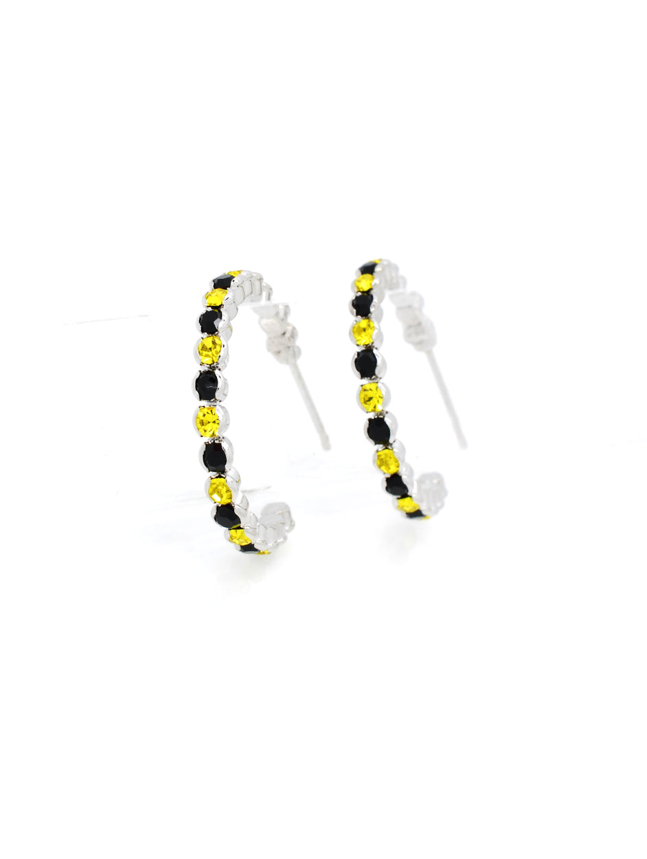 Deluxe Hoop Earrings - Black/Yellow