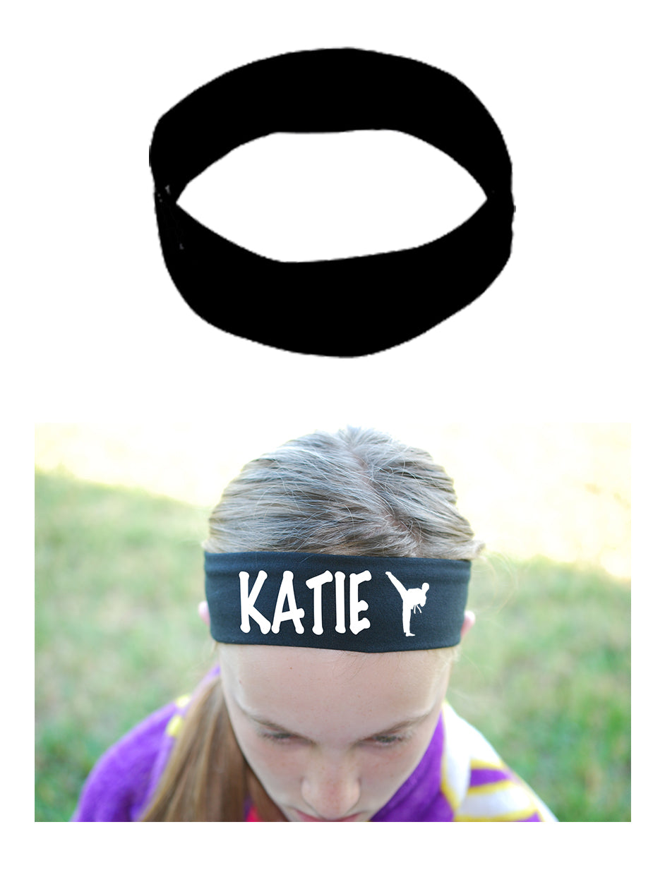 Custom Karate Tae Kwon Do Cotton Headband - Flat (Non Sparkle) Letters!