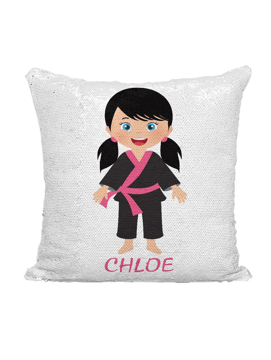 CUSTOM SEQUIN PILLOW - KARATE GIRL with PIGTAILS