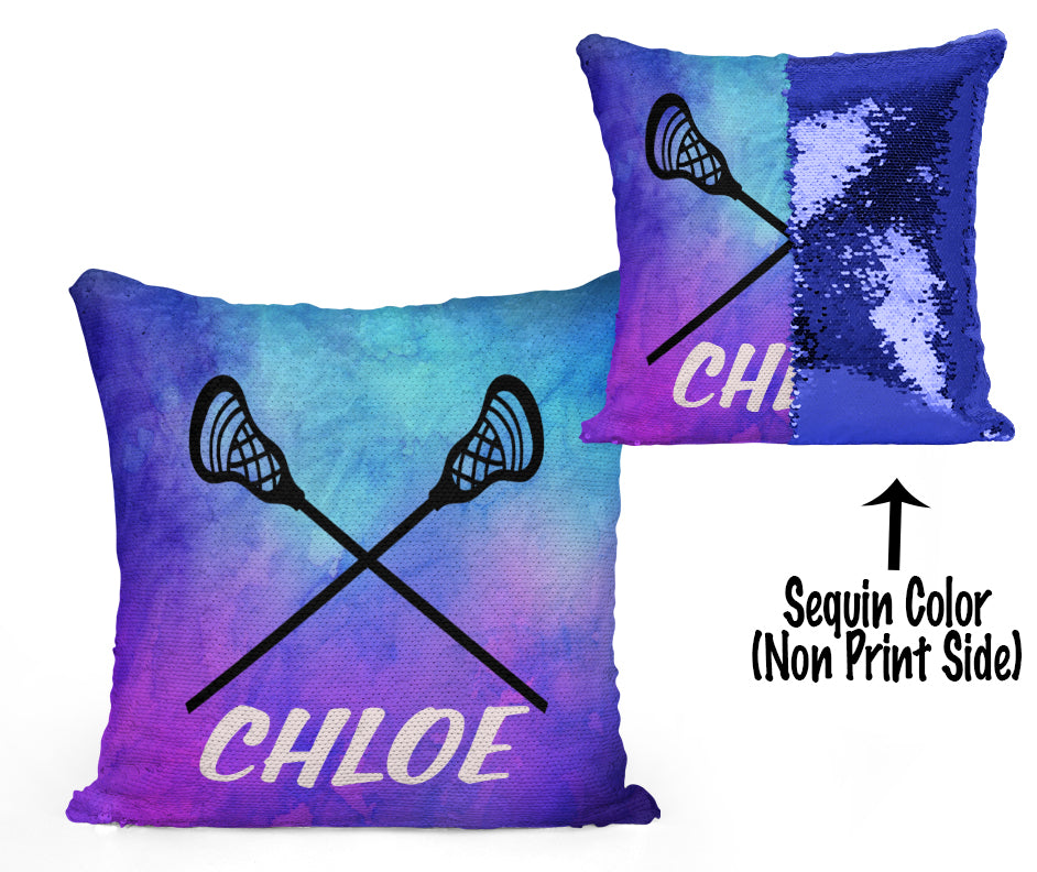 Personalized CUSTOM LACROSSE Sequin Pillow - Watercolors