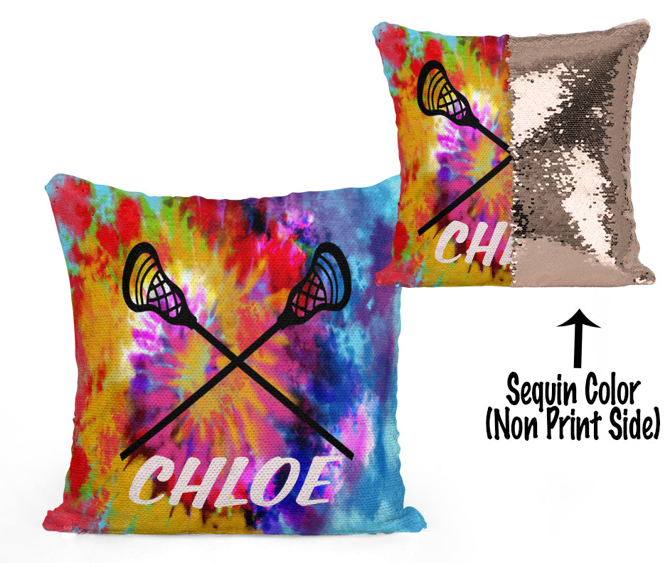 Custom Personalized Lacrosse Sequin Mermaid Flip Pillow- Tie Dye
