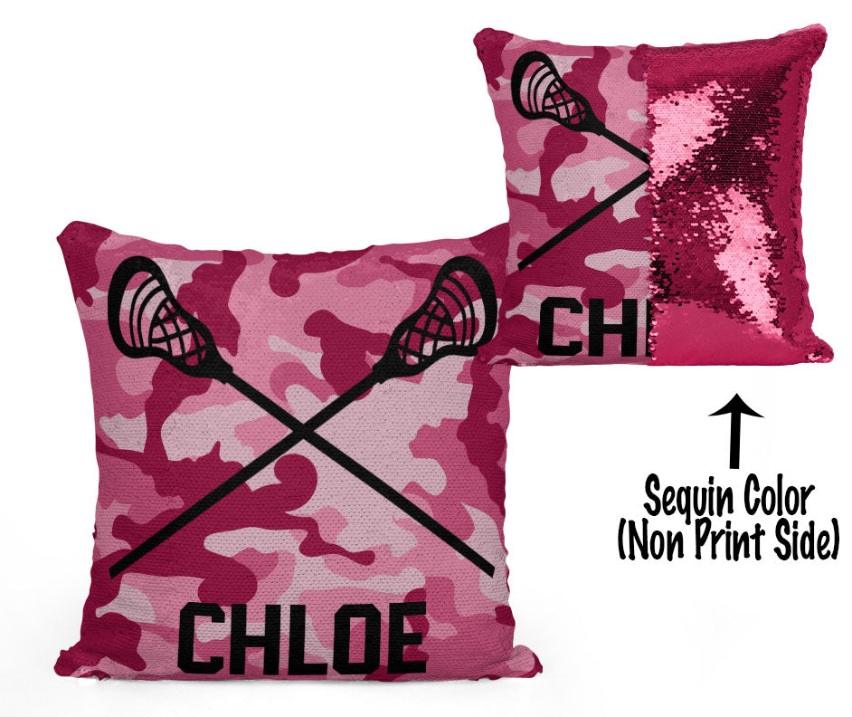 Custom Personalized Lacrosse Sequin Mermaid Flip Pillow- Camo