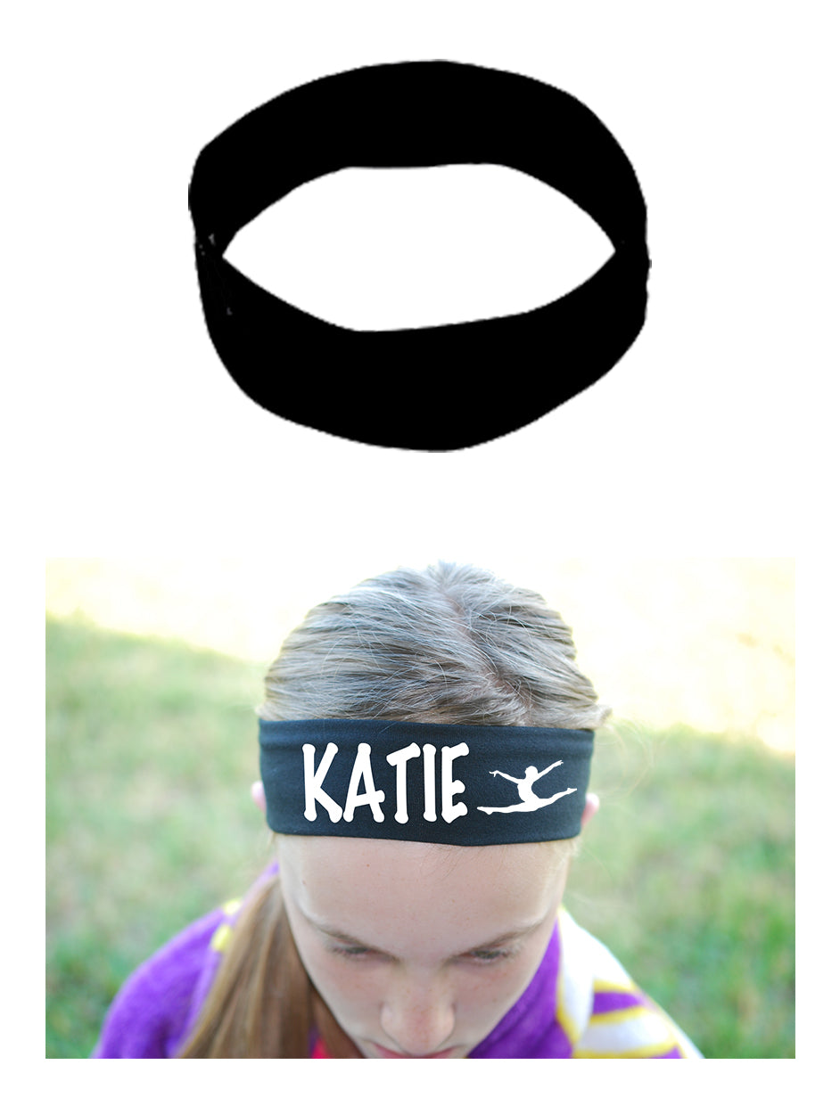 Custom GYMNAST Leaping Cotton Headband - Flat (Non Sparkle) Letters!