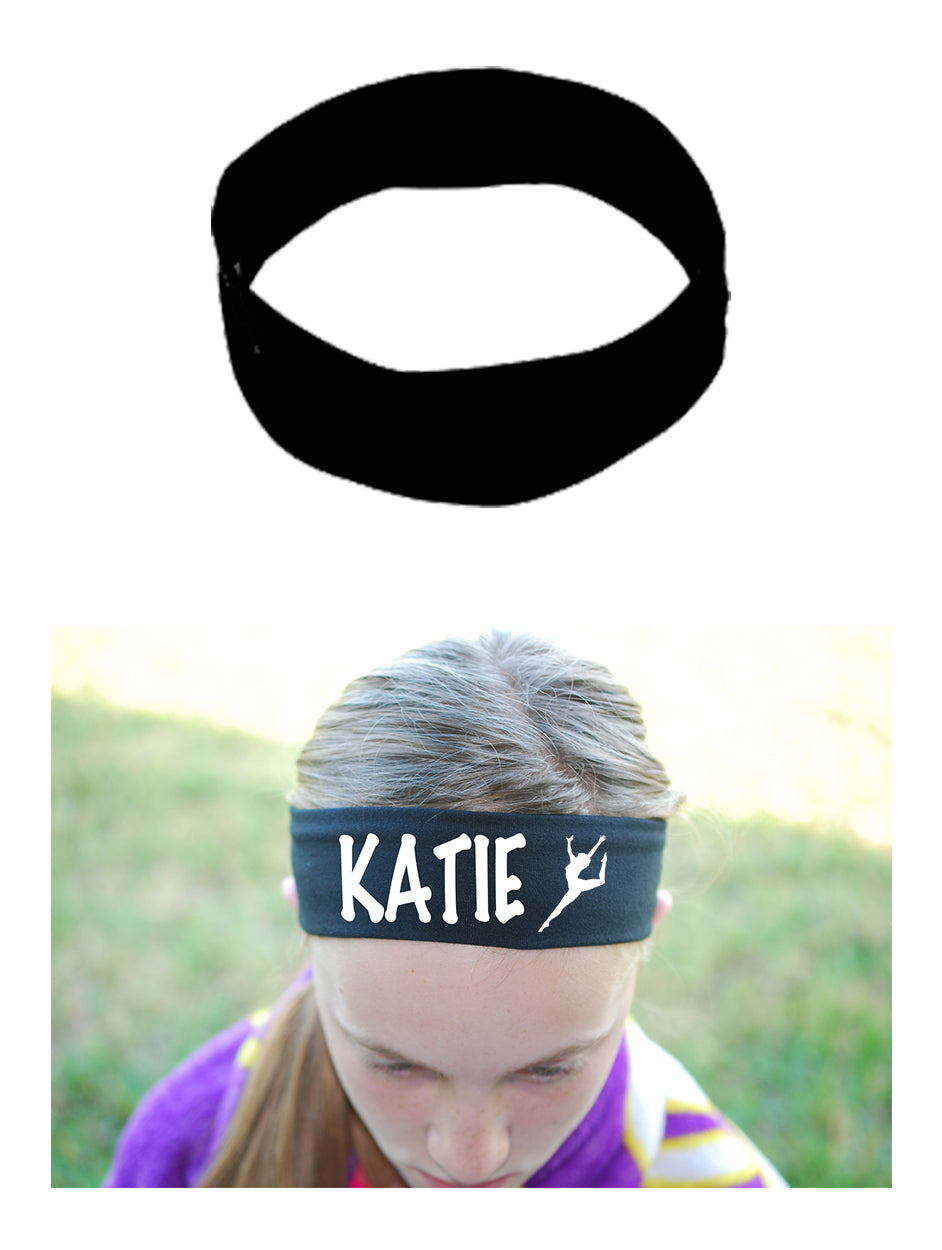 Custom GYMNAST Leg Up Cotton Headband - Flat (Non Sparkle) Letters!