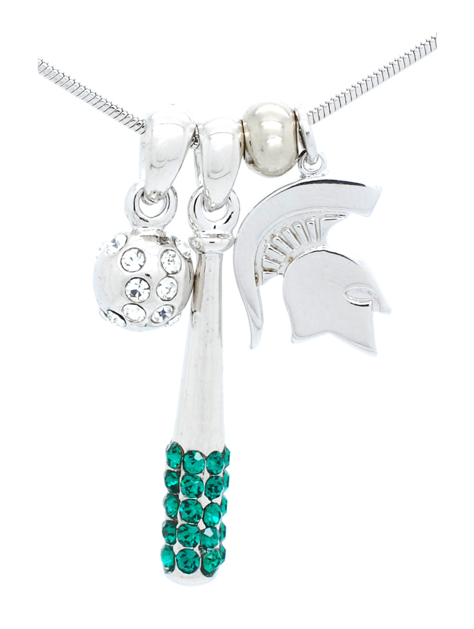 Michigan State Bat & Ball Necklace