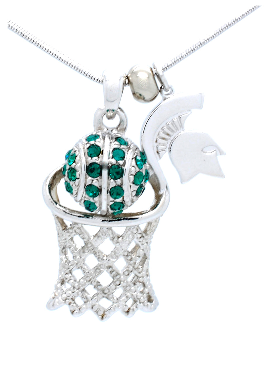 Michigan State Large Basketball Necklace
