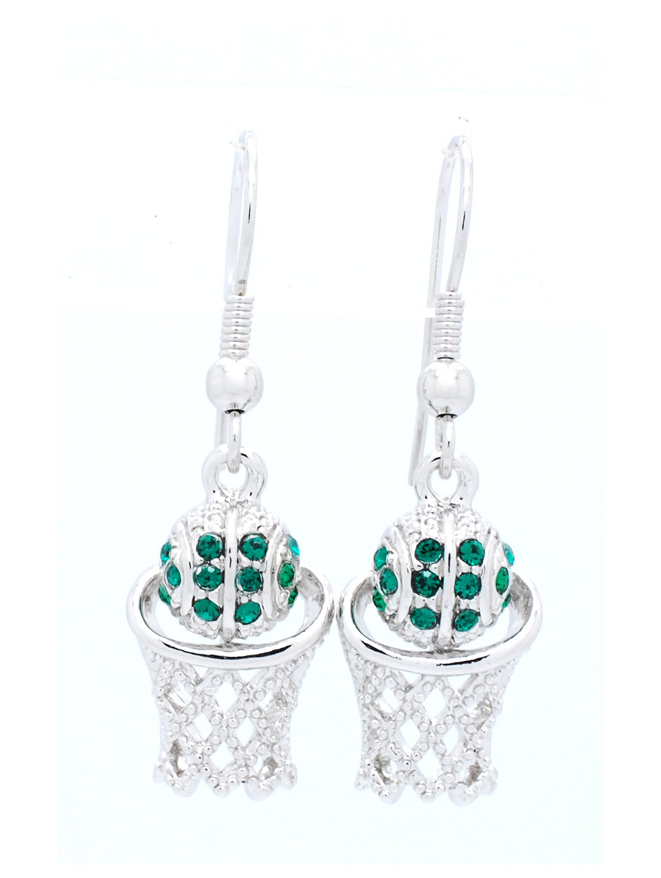 Basketball Hoop Earrings DANGLE - Green