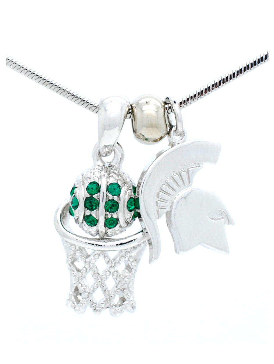 Michigan State Mini Basketball Necklace