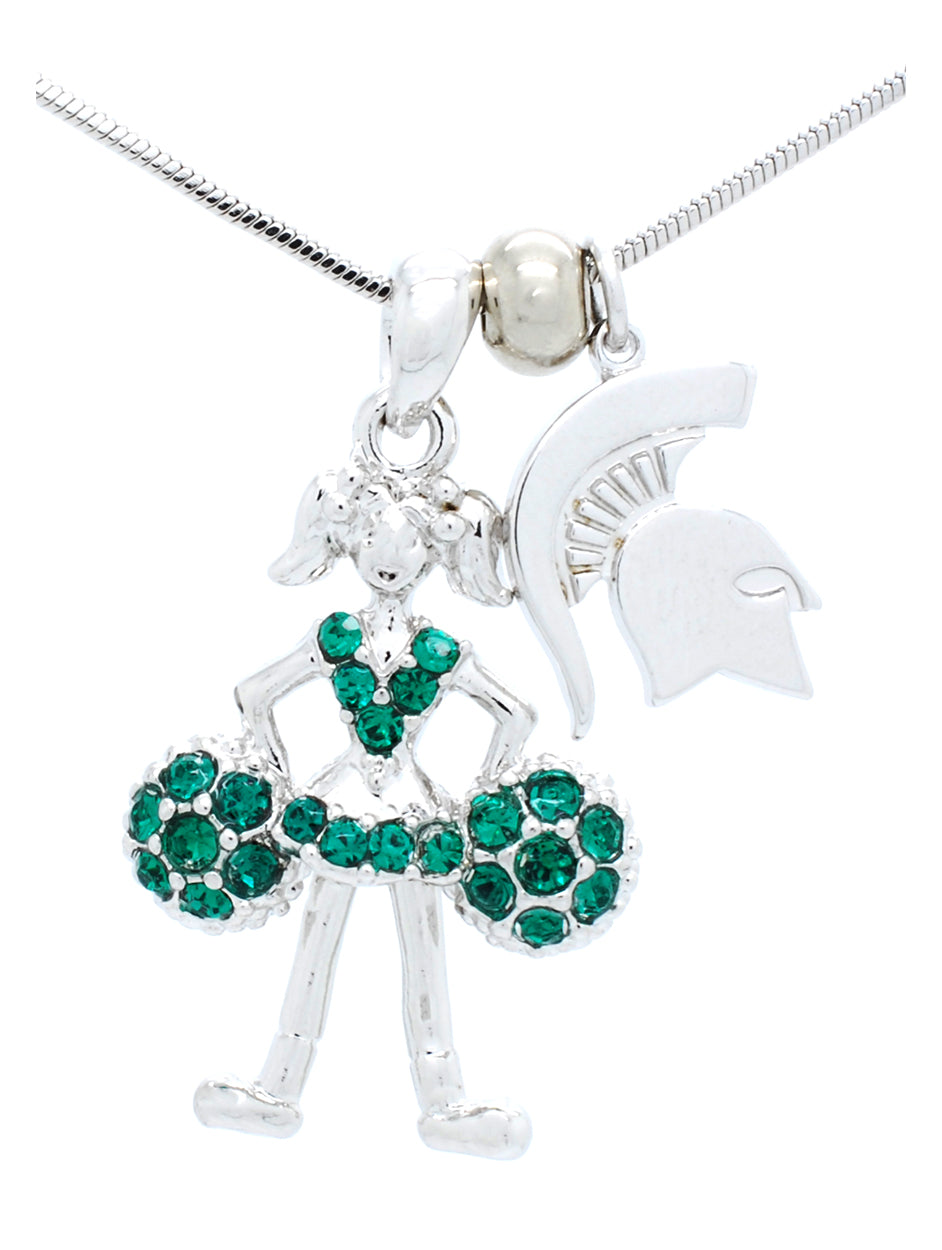 Michigan State Cheerleader Necklace - Poms Down