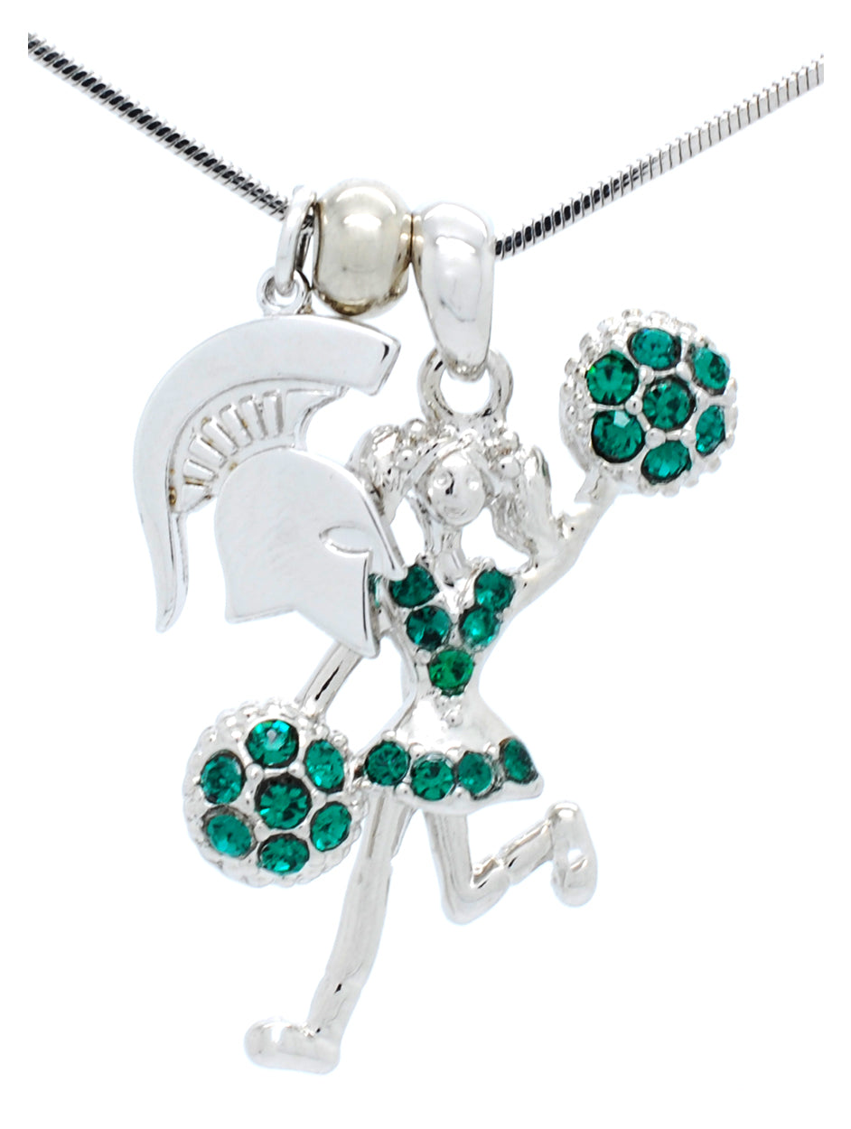 Michigan State Cheerleader Necklace - Half Poms