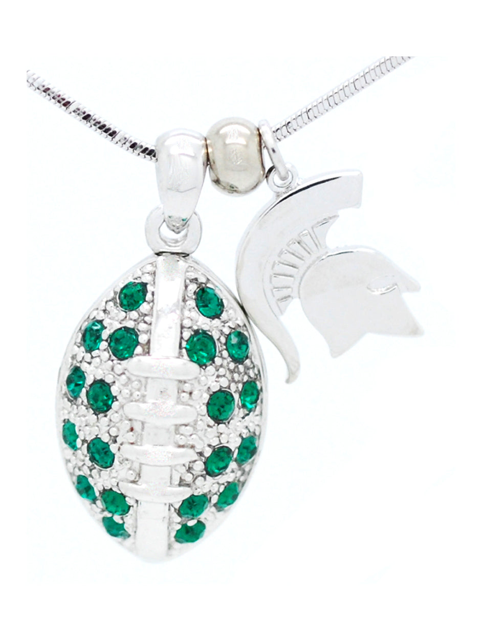 Michigan State Large Football Necklace