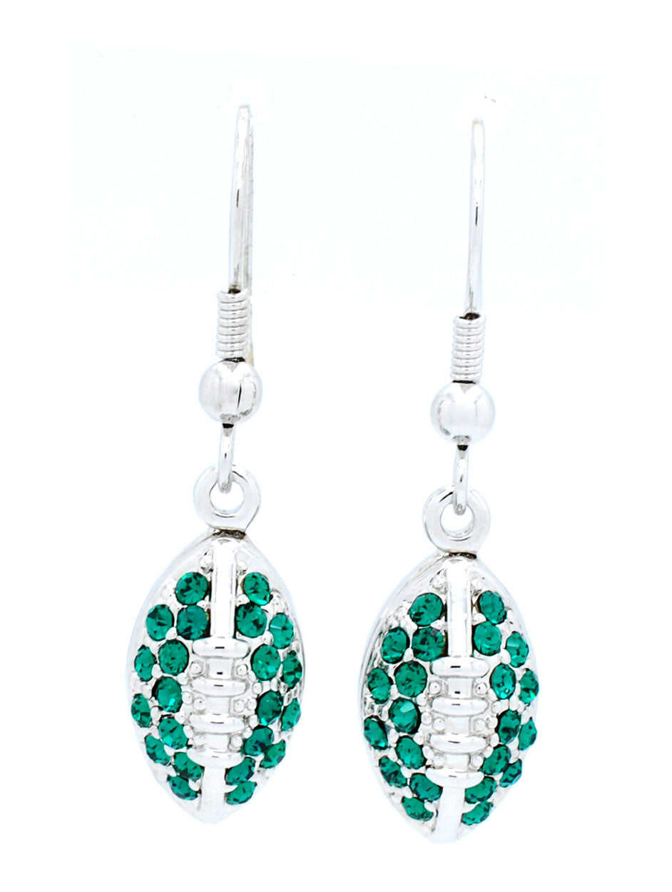Football Earrings - Green