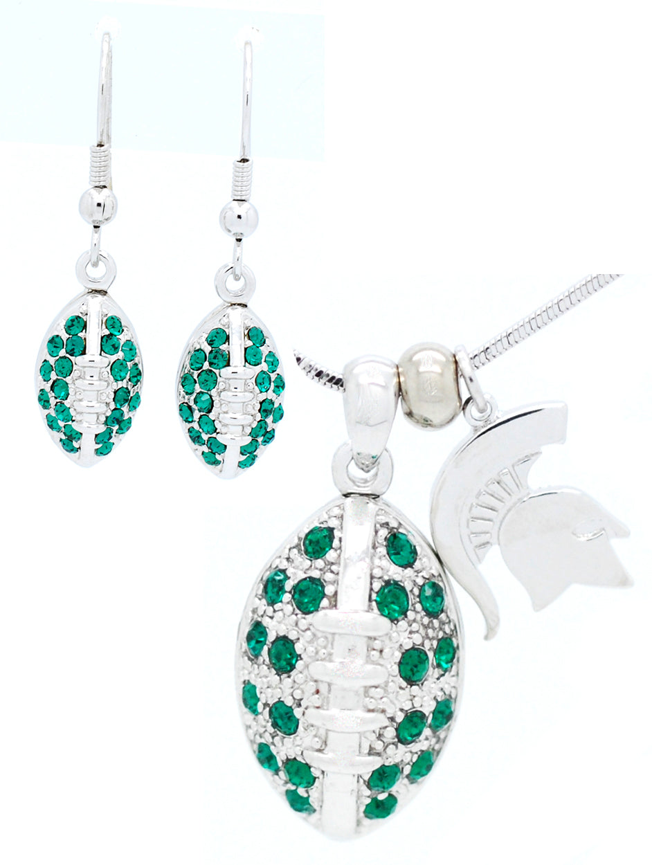Michigan State Large Football Necklace & Earring Set