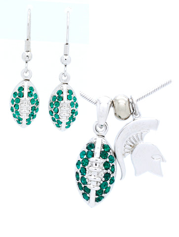 Michigan State Mini Football Necklace & Earring Set