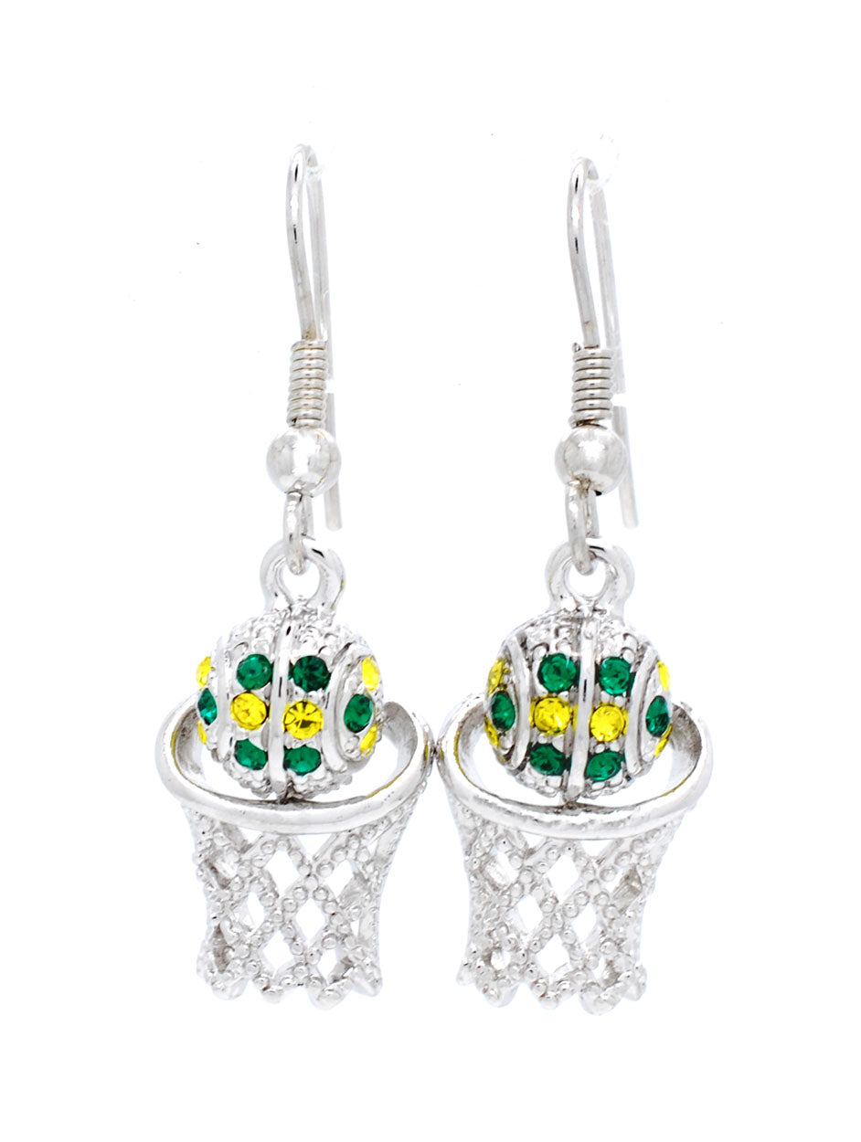 Basketball Hoop Earrings DANGLE - Green/Gold