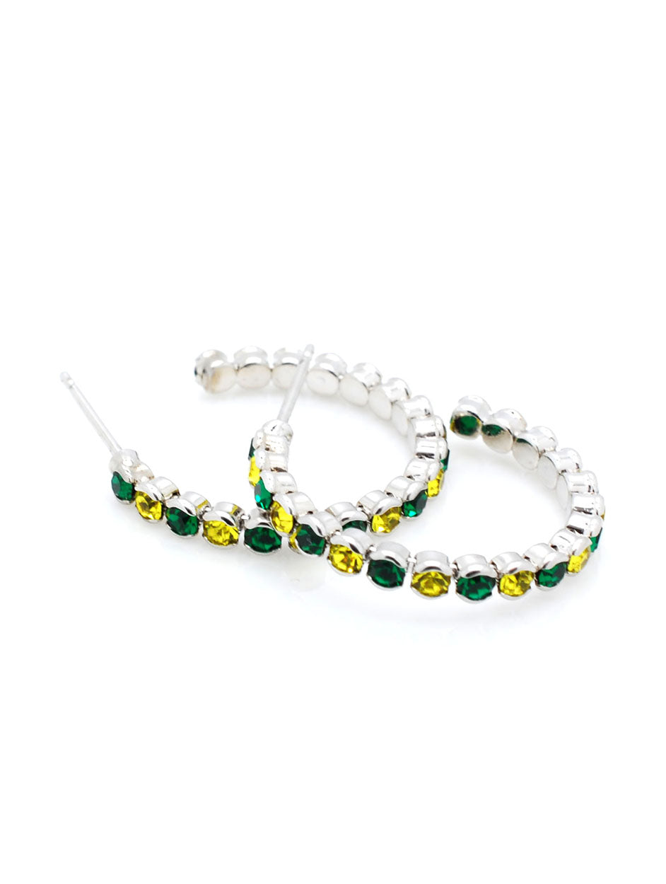 Hoop Earrings - Green/Gold
