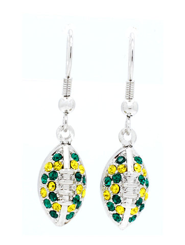 Football Earrings - Green/Gold