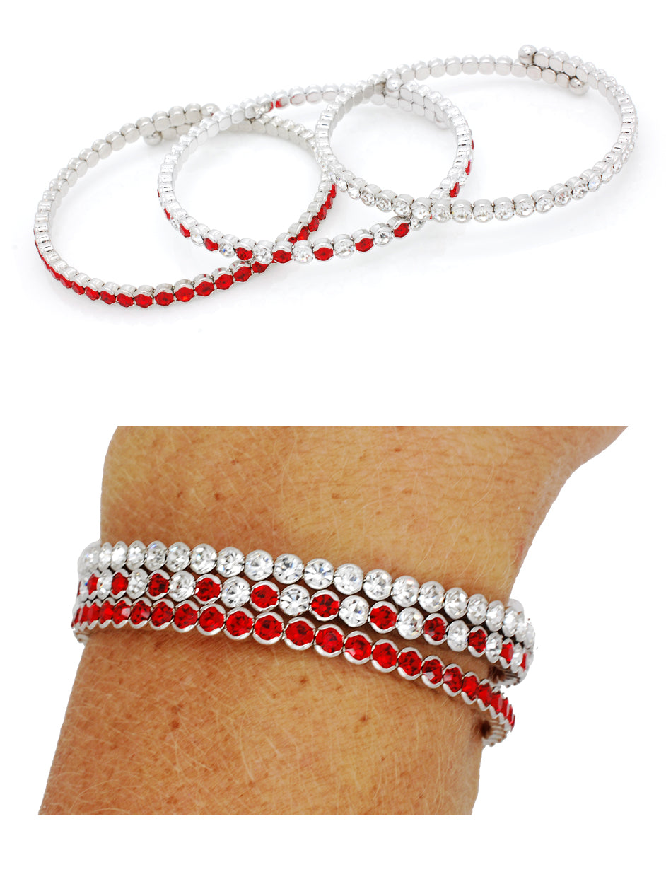 Deluxe Flex Bracelets - Red/Red-Clear/Clear