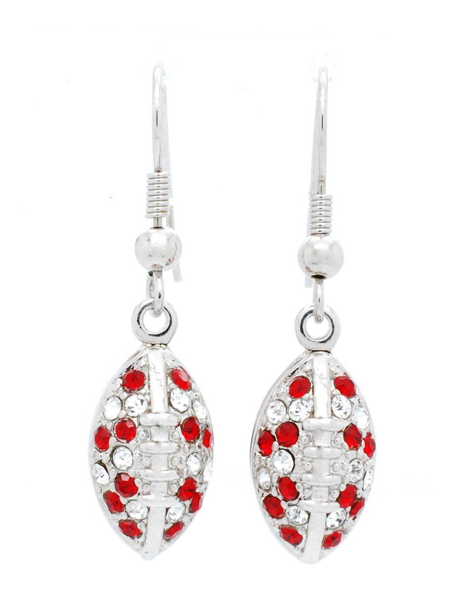 Football Earrings - Red/Crystal