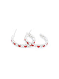 Deluxe Hoop Earrings - Red/Clear