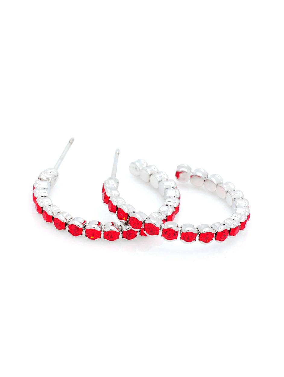Deluxe Hoop Earrings - Red