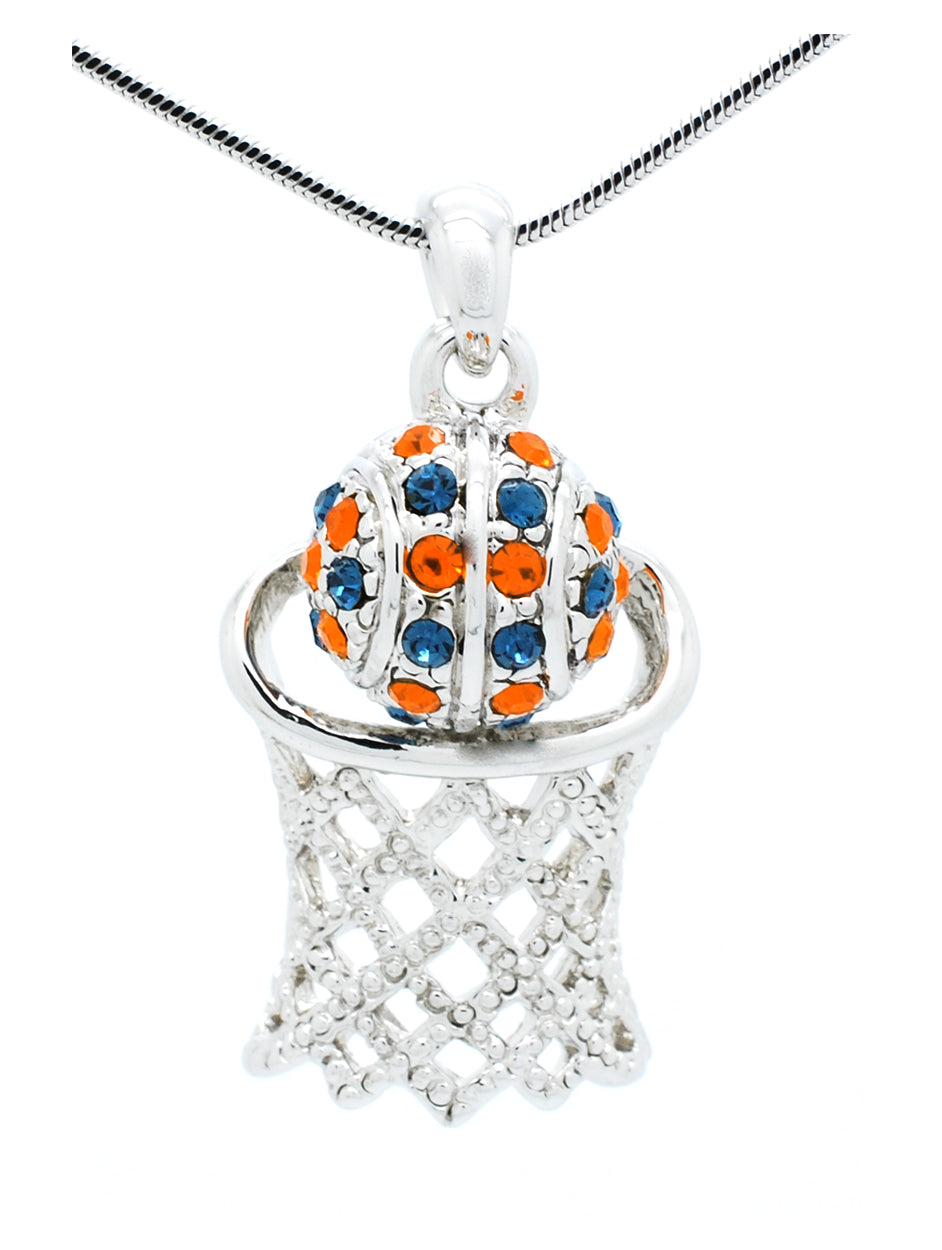 Large Basketball Necklace - Navy/Orange