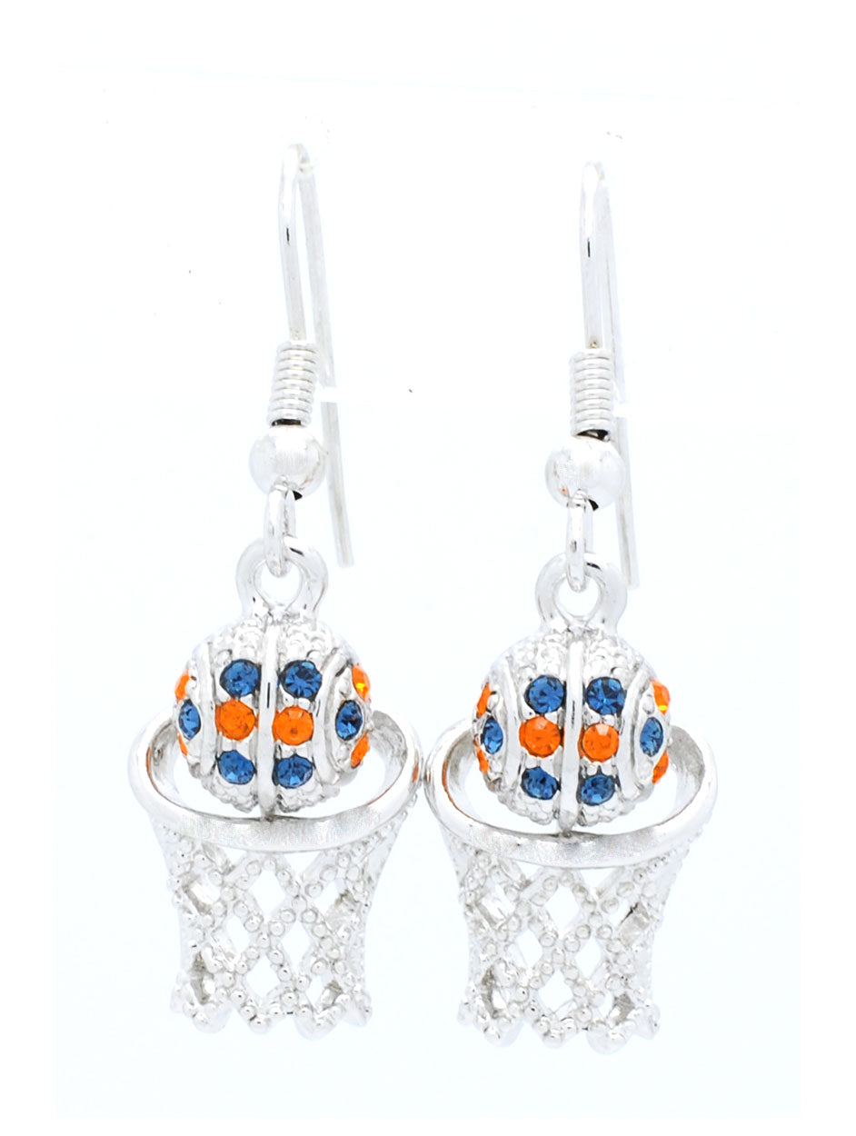 Basketball Earrings DANGLE - Orange/Navy