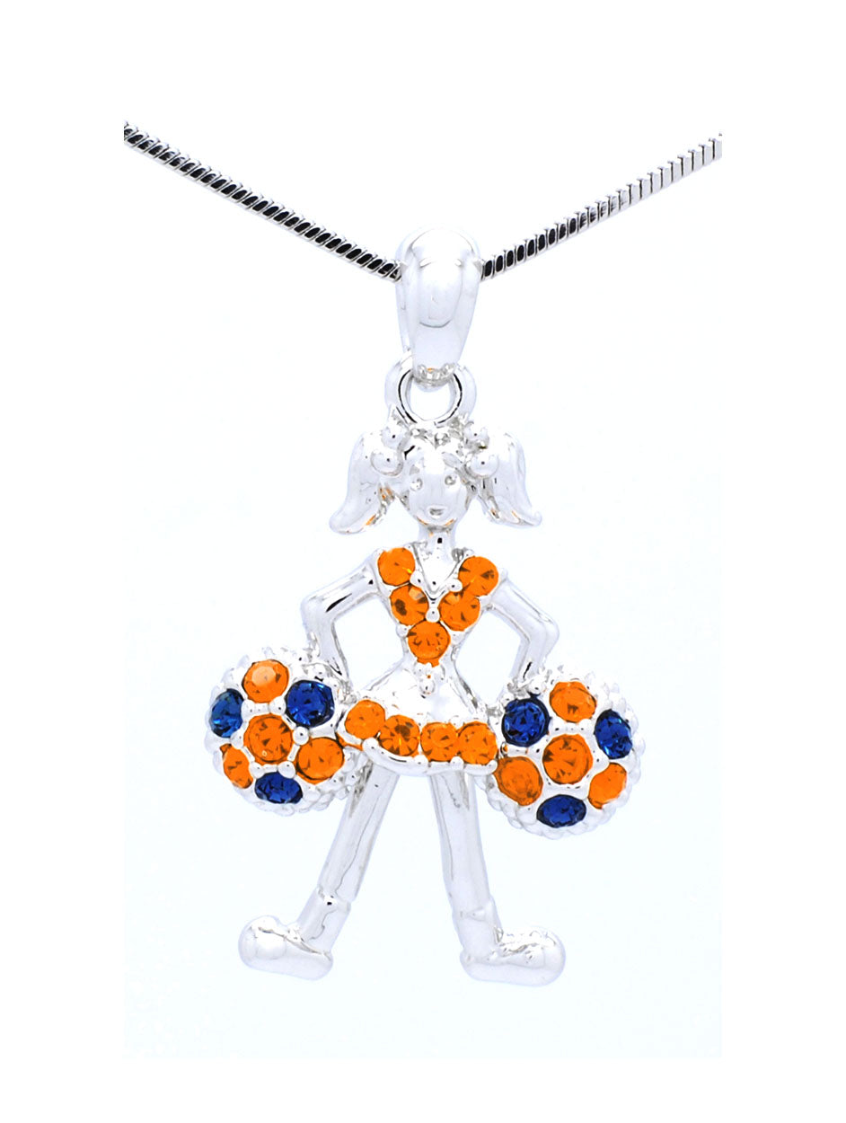 Cheer Necklace - Poms Down - Orange/Navy
