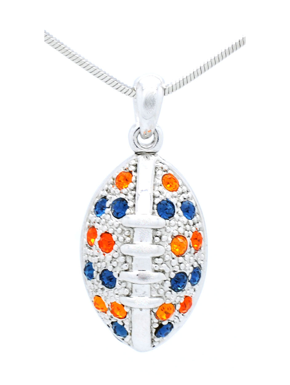 Large Football Necklace - Navy/Orange