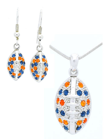 Large Football Necklace & Earring Set - Navy/Orange
