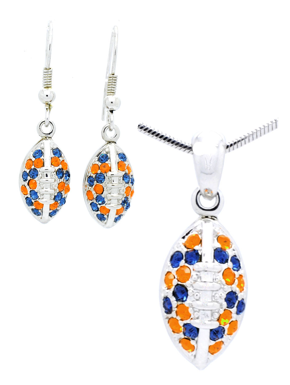 Mini Football Necklace & Earring Set - Navy/Orange