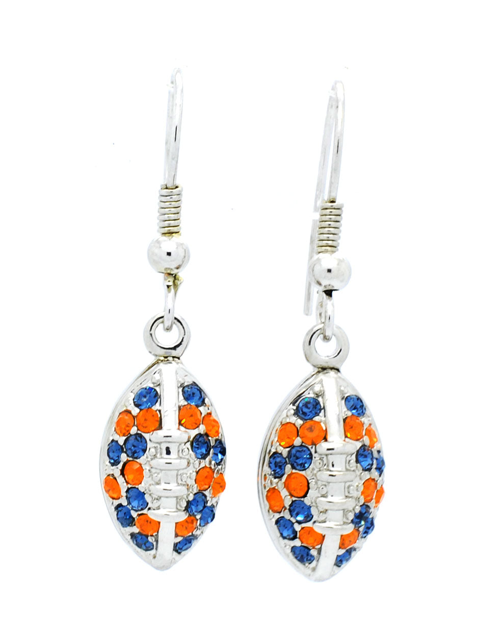 Football Earrings - Orange/Navy
