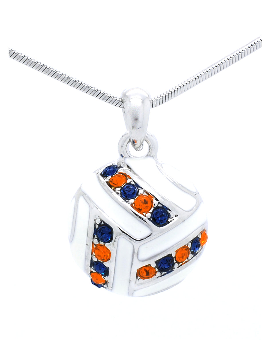 Volleyball Necklace - Navy/Orange