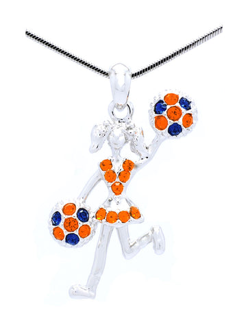 Cheer Necklace - Poms Half - Orange/Navy