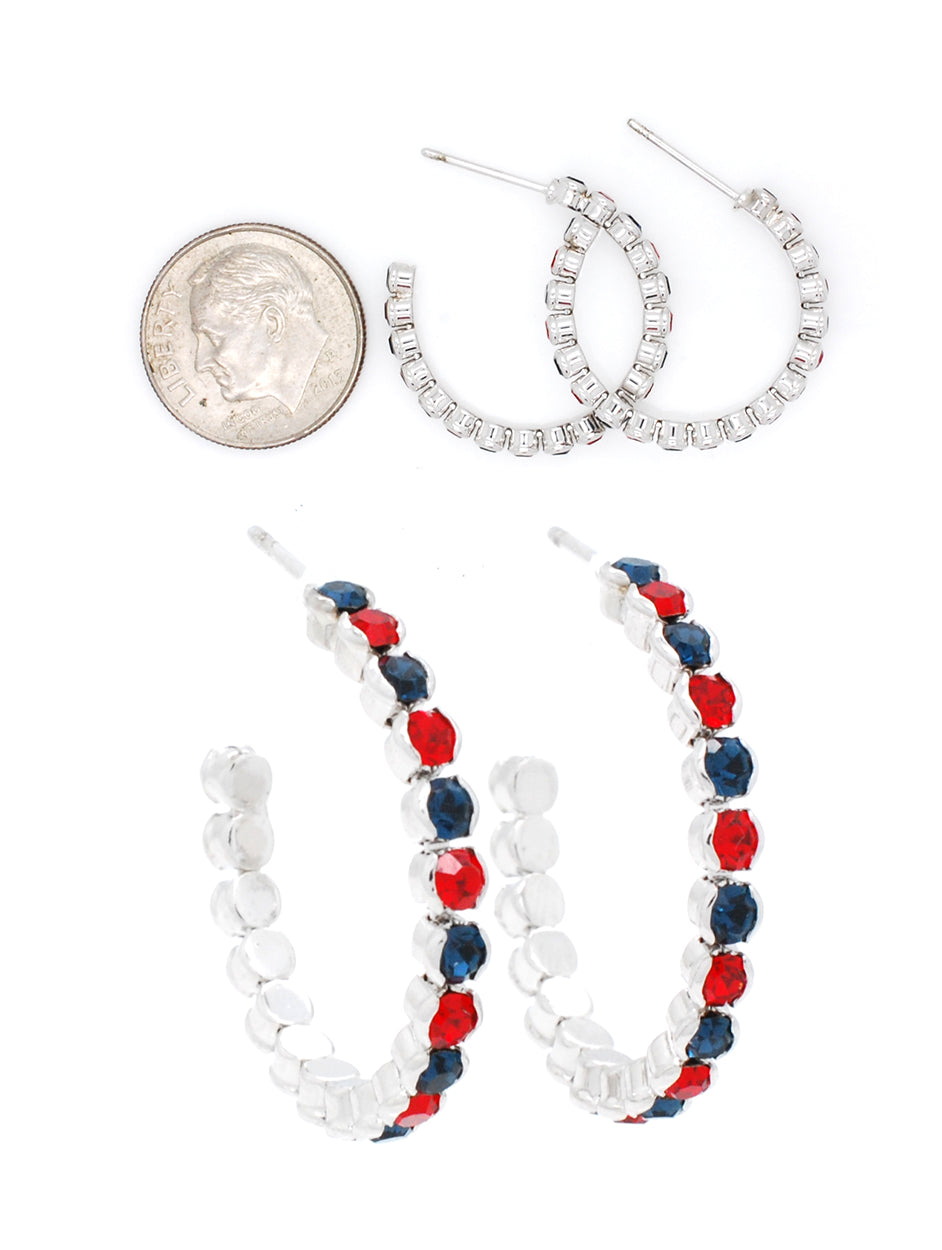 Hoop Earrings - Very Lightweight! - Navy / Red