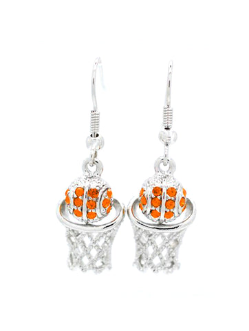 Basketball Earrings DANGLE - Orange
