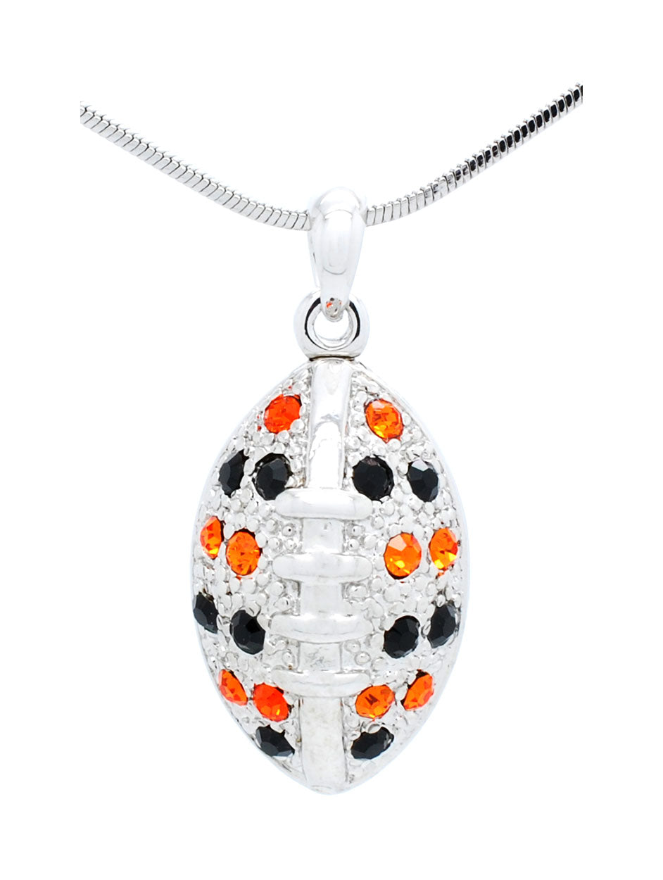 Football Necklace Large - Orange/Black
