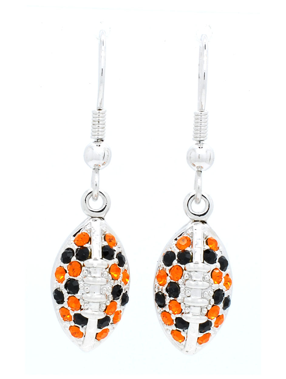 Football Earrings - Orange/Black
