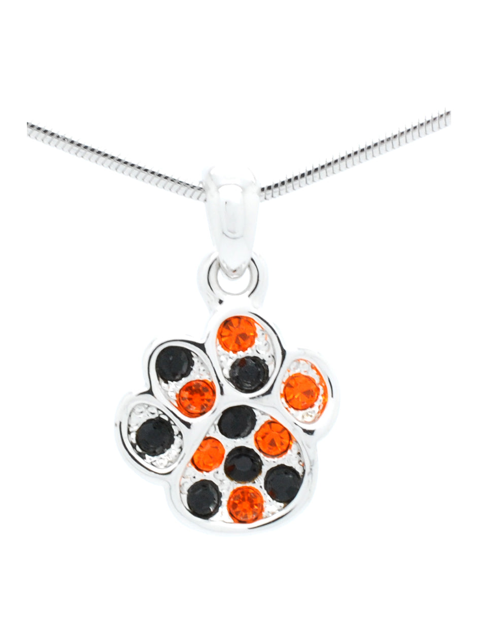 Paw Print Necklace Mini - Orange/Black