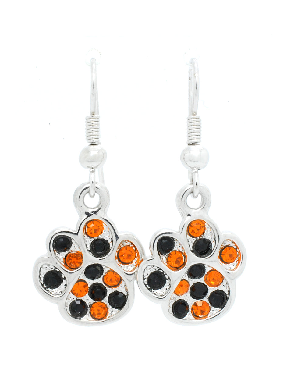 Paw Print Dangle Earrings - Orange/Black