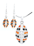 Football Necklace (Large) & Earring Set - Black/Orange